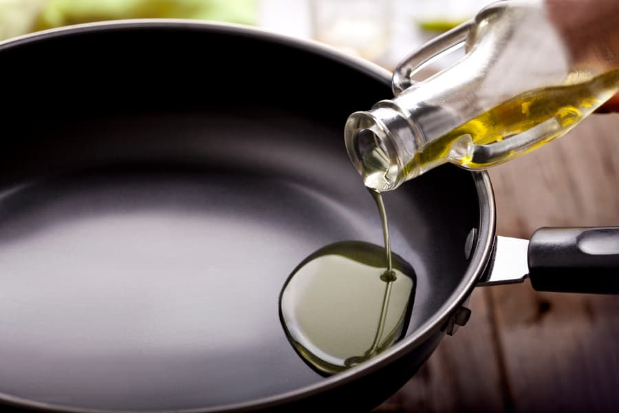 Olive Oil Poured In Pan