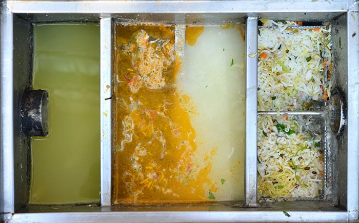 Full Grease Trap in a Restaurant.