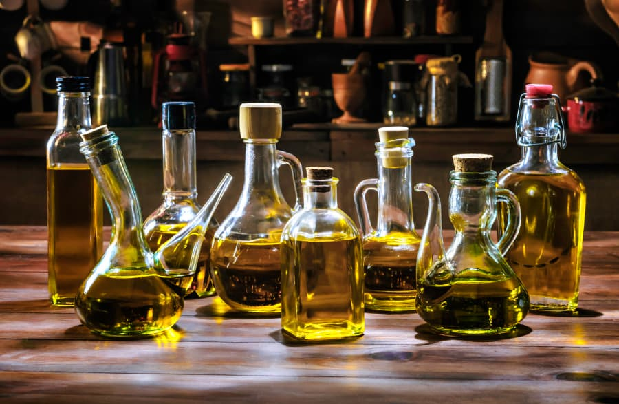 Collection of vegetable oil bottles