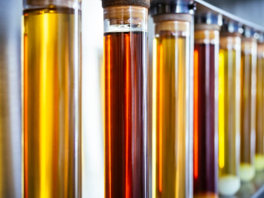 Biodiesel in test tubes for research
