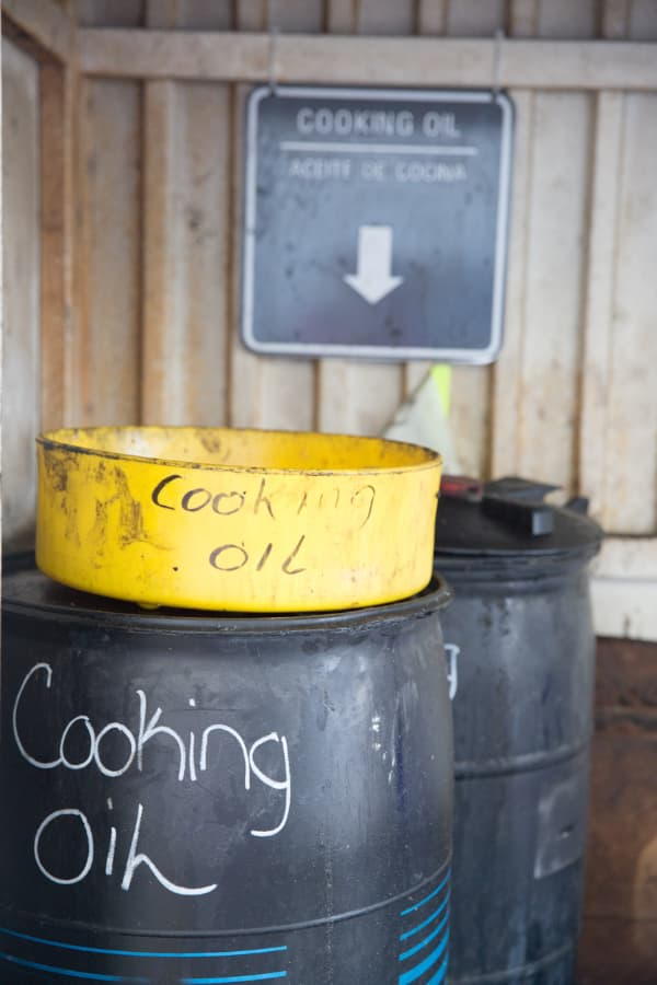 Recycling containers for used cooking oil