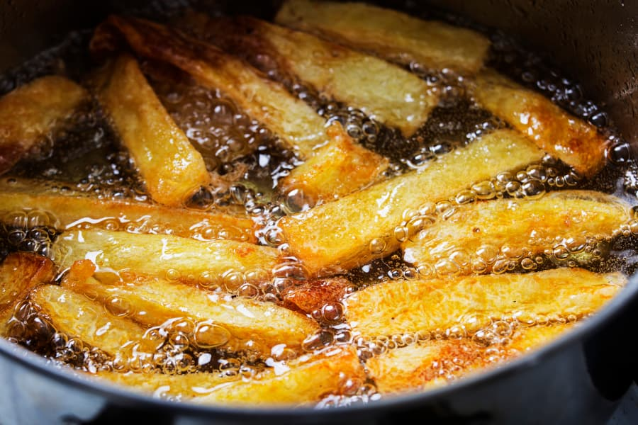 French Fries Cooking In Oil